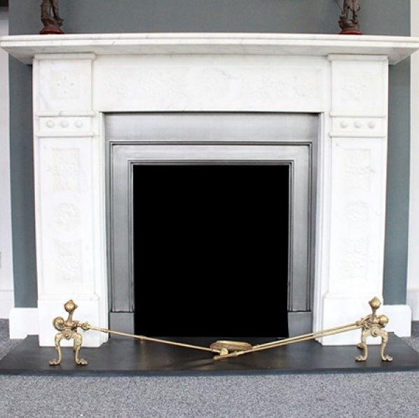 GX-30002 - Edwardian Carved Statutory White Marble Chimneypiece