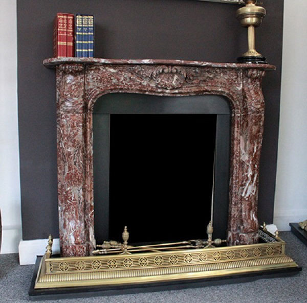 GX-30003 - French Belgian Rouge Carved Marble Chimneypiece