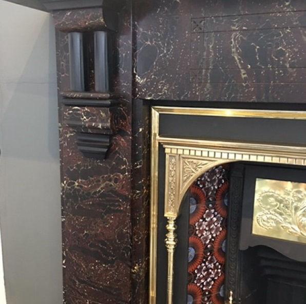 GX-30005 - Victorian Marbleized Slate Mantelpiece
