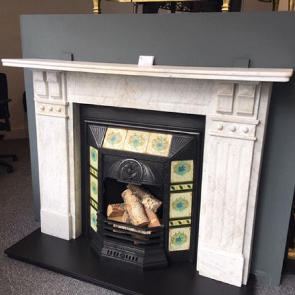 GX-30007 - Edwardian Carrara Marble Double Corbelled And Panelled Chimneypiece